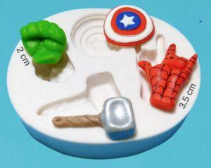 Molde de silicone Símbolo dos Heróis (Hulk, Capitão América, Homem Aranha e Thor)