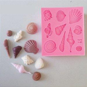 Molde  de silicone Fundo do Mar: Conchas