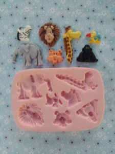 Molde de silicone de Safari- Modelo 2  girafa, elefante, tigre, gorila, zebra