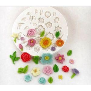 Molde de silicone de Rosas e Flores (Modelo 7) jardim