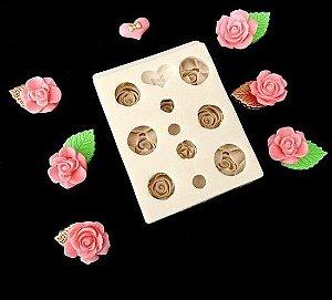 Molde de silicone de Rosas e Coração