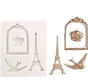Molde de silicone Torre Eiffel / pássaro / moldura / viagem