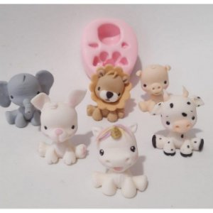 Molde de silicone para Bichinhos em 3D/ Corpinho Universal safari, unicórnio, vaca, elefante