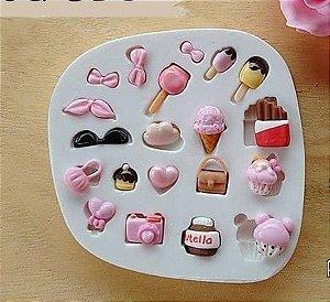 Molde  de silicone Diversos nutela / sorvete / chocolate / máquina fotográfica / bolsa / óculos / laço / maça do amor