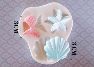 Molde de silicone Cauda da Sereia, Estrela do Mar e Concha