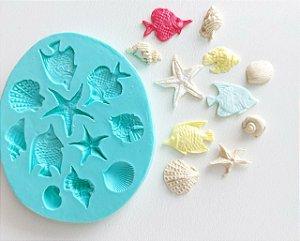 Molde de silicone de Peixes e Conchas fundo do mar