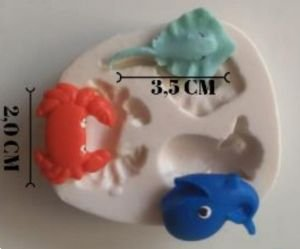 Molde de silicone  Animais Marinhos Mini (baleia, caranguejo e arraia) fundo do mar