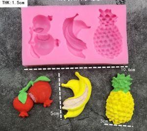 Molde de silicone de Frutas (Abacaxi, Banana e Romã)