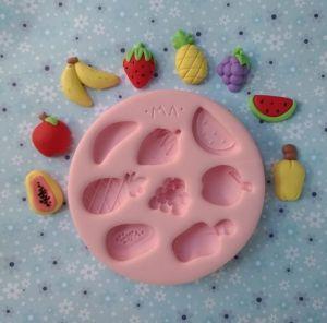 Molde de silicone de Frutas mamão , banana, maça , melancia, abacaxi, caju, morango