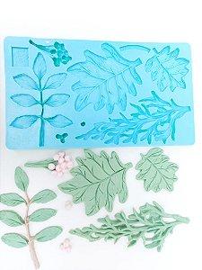 Molde de silicone de Folhas Diversas Para Bolo de Casamento
