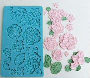 Molde de silicone de Flores e Folhas Para Bolo de Casamento