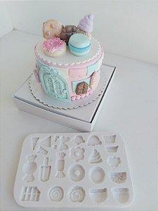 Molde de silicone de Doces cupcake balas picolé confeitaria