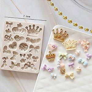 Molde de silicone de Laços, Coroas, Coração e Cupcake