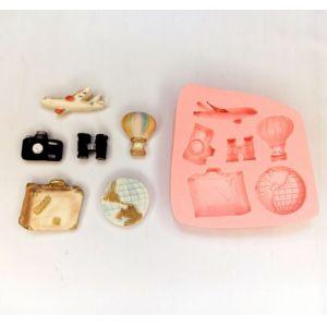 Molde de silicone Kit de Viagem máquina fotográfica / balão  / avião / mundo / binoculo