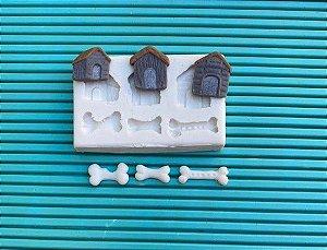 Molde de silicone Casinhas de Cachorro e ossos / patrulha canina