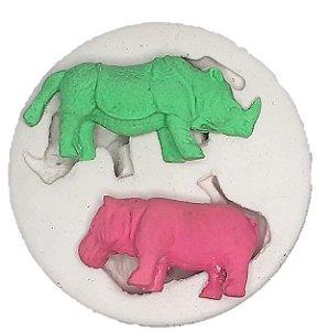 Molde de silicone do Safari Rinoceronte e Hipopótamo