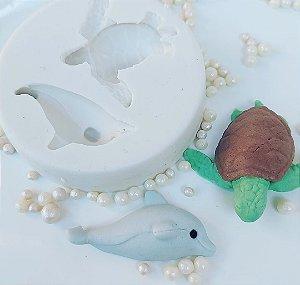 Molde de silicone fundo do mar tartaruga e golfinho