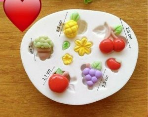 Molde de silicone Frutas maça, cereja, uva, abacaxi, flor