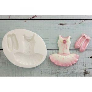 molde de silicone de Bailarina: Vestido e Sapatilha