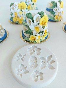 Molde de silicone mini Orquídeas