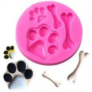 Molde de silicone Patinha e Osso de Cachorro