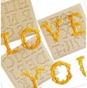 Molde de silicone de Alfabeto/ Letras Decoradas Maiúsculas- Modelo 3
