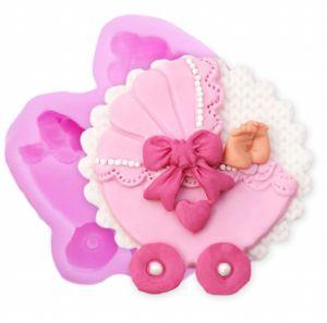 Molde de silicone Carrinho de Bebê Decorado (Modelo 2)