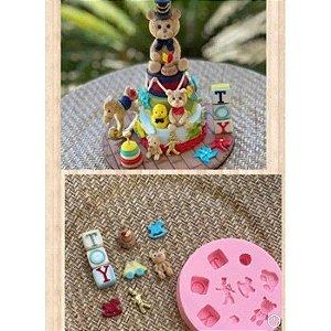 Molde de silicone de Brinquedos Coleção Aline Candido urso carro soldadinho