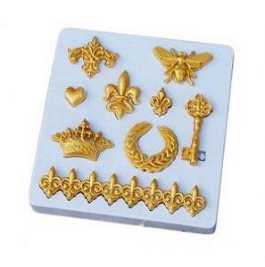 Molde de silicone Diversos (Modelo 8) arabesco / chave / flor de lis / rodapé / abelha / coroa