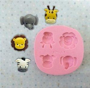 Molde de silicone Animais do Safari (zebra, elefante, leão e zebra)