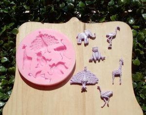 Molde de silicone de Animais do Safari/ Festa Tropical / Circo elefante, pavão, ema, urso, girafa