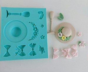 Molde de silicone de Acessórios Femininos (chapéu, laço, flor)