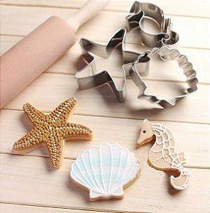 Cortador Fundo do mar Inox (Estrela do mar, Cavalo marinho e Concha)