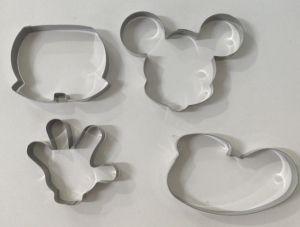 Cortador Biscoito Mickey (Rosto do Mickey, Sapato, Luva e Roupa)  Inox