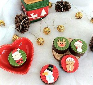 Cortador 3D papai noel, mamãe noel, rena, boneco biscoito de natal, boneco de neve 4 cm