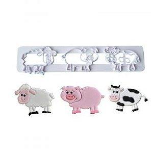 Cortador 3D Animais Fazenda (Vaca, Porco e Ovelha)