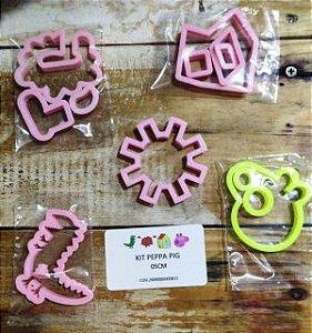 Cortador 3D  Kit Peppa Pig 5 cm  (Peppa, Casinha, Sol, Dragão e Lama)