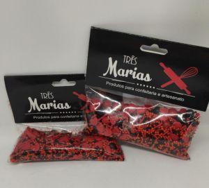 Confeitos/ Sprinkles Coloridos Vermelho e Preto