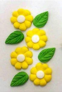 Confeitos/ Sprinkles Coloridos de Margaridas e Folhas