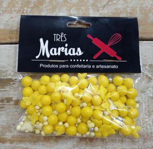 Confeitos/ Sprinkles Coloridos Amarelo e Branco