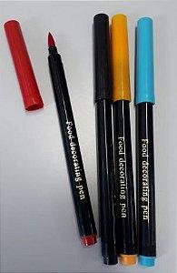 Kit Canetas Com Tinta Comestível ( Azul, Vermelho, Preto e Amarelo)