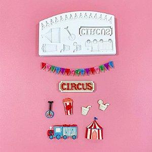Molde de silicone Circo (tenda, pipoca, suco, caminhão)