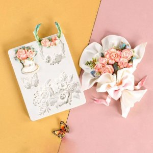 Molde de silicone de rosas e borboletas