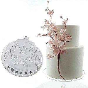 Molde de silicone Flor de Cerejeira e folhas