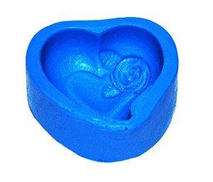 Forma de fazer sabonete e velas - Coração com Rosa P 5x4,5