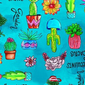 Tecido Cactus estampa digital em tricoline 100% algodão