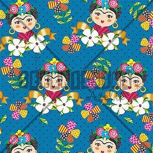 Tecido Frida Azul