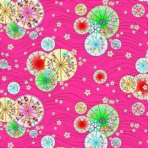 Tecidos Sombrinhas fundo pink digital 100% algodão