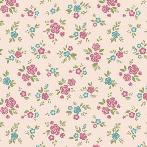 Tecido Mini Rosinhas Cor de Rosa1  Tricoline Estampado 100% algodão
