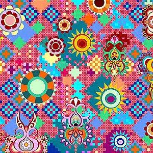 Tecido Mosaico Digital 100% ALGODÃO
